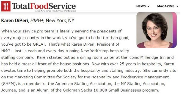Hmg President Recognized By Total Food Service Hmg Plus